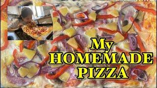 MAKING DOUGH PIZZA || HOMEMADE PIZZA
