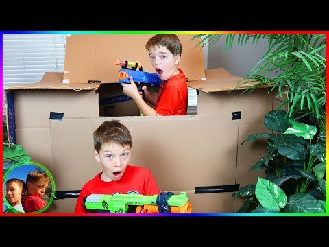 Nerf Battle: Capture The Box Fort! / Steel Kids