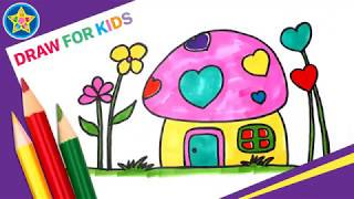 How To Draw Mushroom House || Draw For Kids