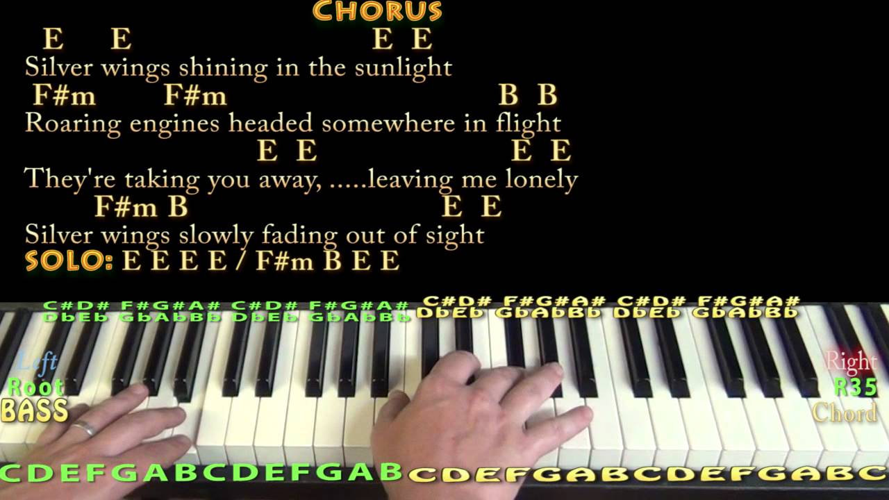 Silver Wings Merle Haggard Piano Cover Lesson in E with Chords/Lyrics