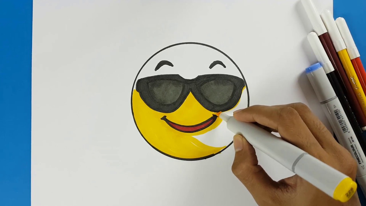 6b95d576d60 How to Draw Smiley Face Emoji with Sunglasses Easy Step by Step - Draw + Cool  Emoji