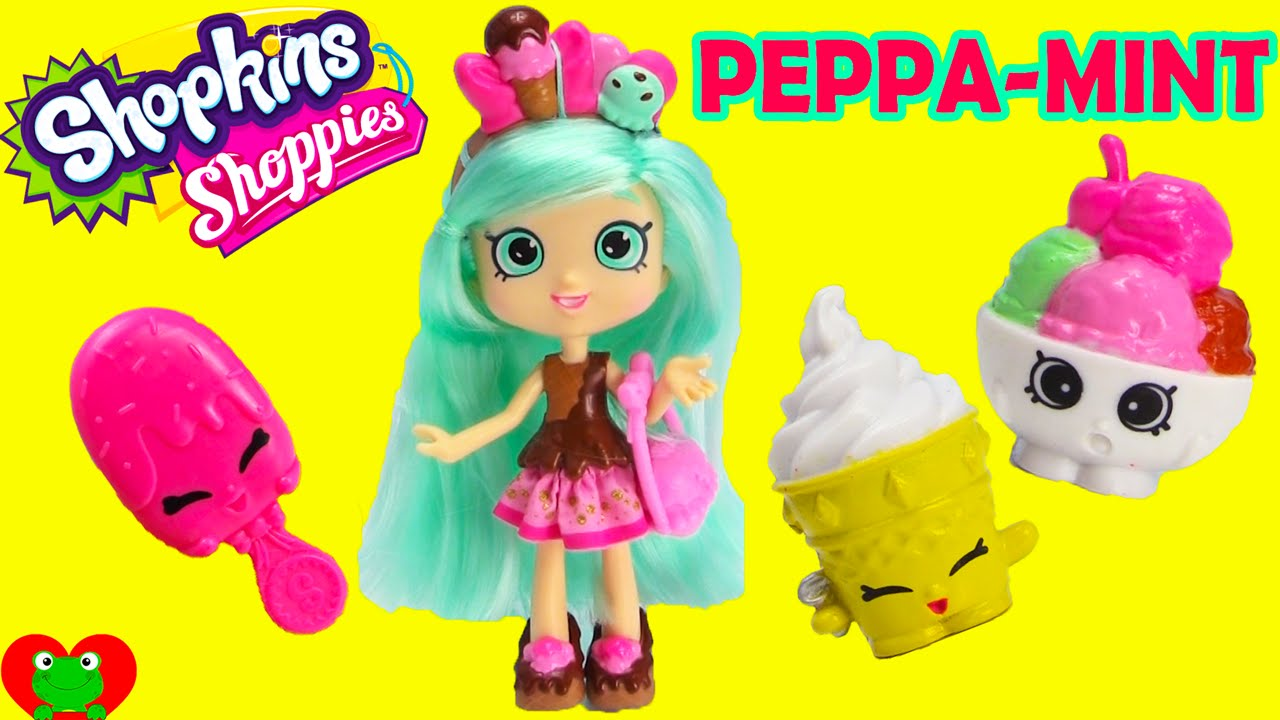 shopkins peppa mint doll shoppies collection with exclusives youtube