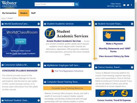 Webster University's Connections Portal