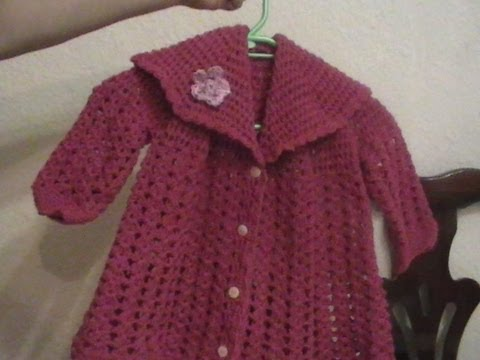 Crochet Como Tejer un Abrigo para Bebe o niña - YouTube