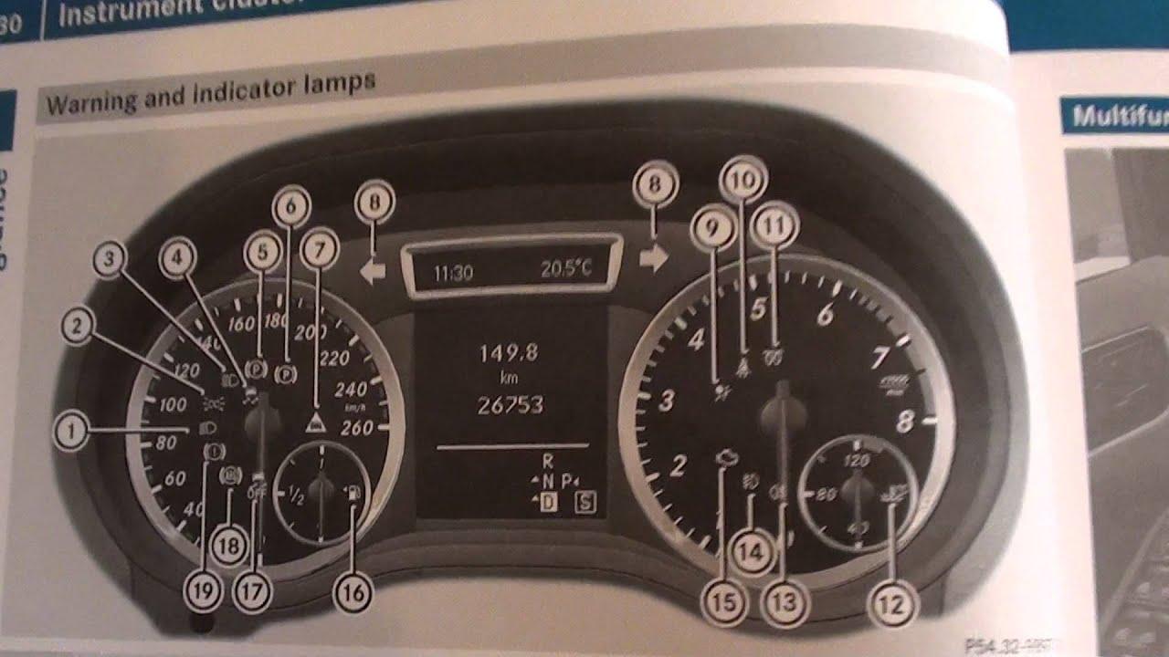 Mercedes benz b class dash light symbols directory youtube for Mercedes benz dashboard lights not working
