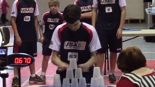 Kid Sets the Cup Stacking WORLD RECORD | What's Trending Now