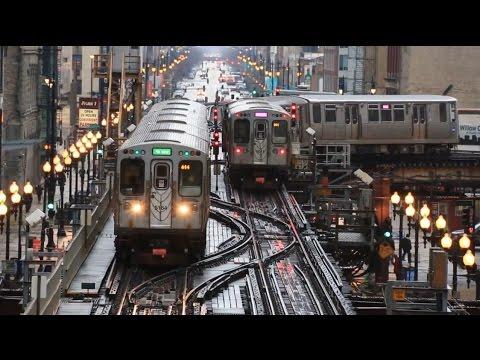 【アメリカ】 シカゴの高架鉄道 Tジャンクション 電車の往来 Chicago 'L' The Loop T Junction  (2016.4)