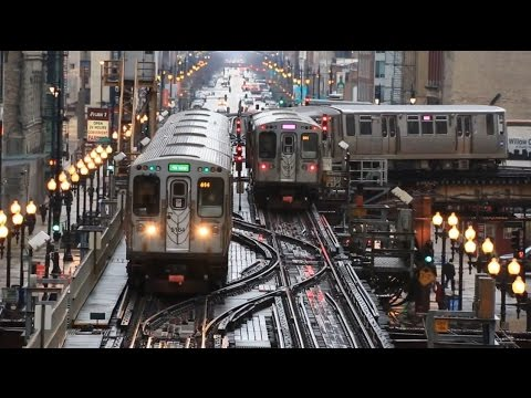 【アメリカ】 シカゴの高架鉄道 Tジャンクション 電車の往来 Chicago