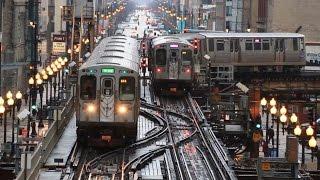 シカゴ交通局 (CTA)の高架鉄道、シカゴ・Lのループ南東部のTジャンクシ...