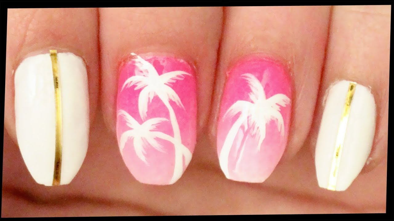 Palm Trees on Pink Ombre nail art - YouTube