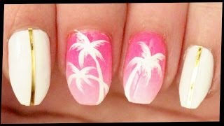 Palm Trees on Pink Ombre nail art