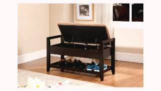 Kings Brand Espresso Finish Wood Shoe Storage Bench With Cushion Seat