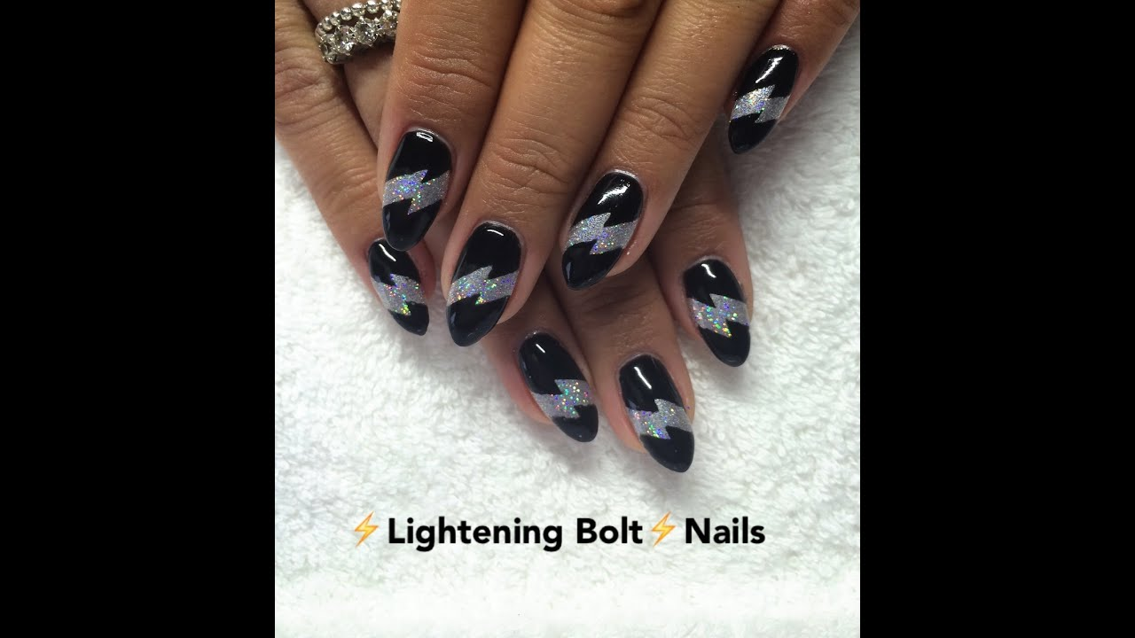 Lightning Bolt Nail Tutorialcnd Shellac Lecent Empower