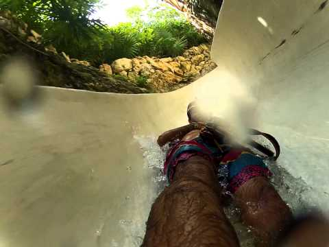 Water slide in Xplor adventure Park. Cancun & Playa del Carmen Riviera Maya. Mexico