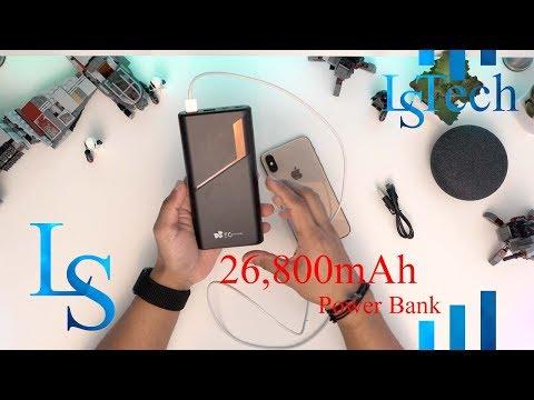 EC Technology 26800mAh Power Bank, USB C High Capacity External Battery Pack