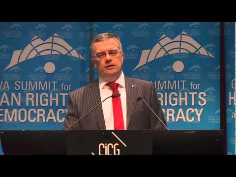 Markus Löning, Chair of LIHR Committee, addresses the 2015 Geneva Summit for Human Rights