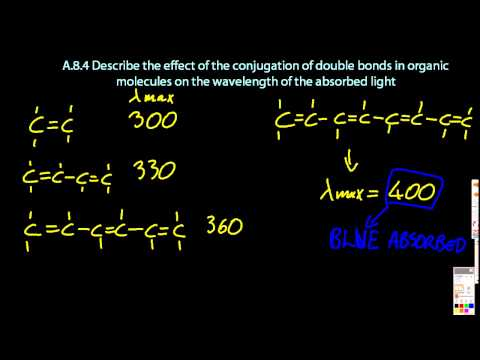A.8.4 Describe conjugation of double bonds and wavelength of absorption IB Chemistry HL