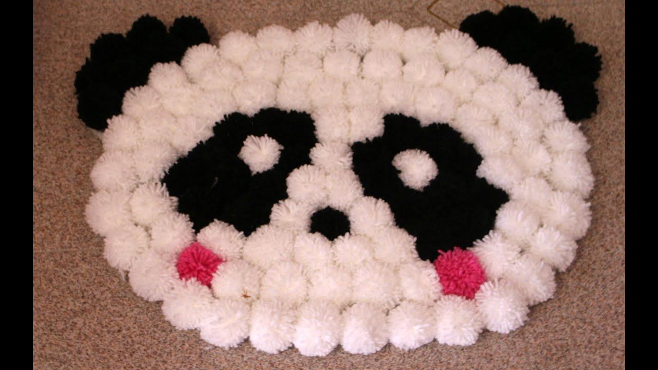 "tappento ""panda"" con i pon pon | how to make a carpet with bon bon"
