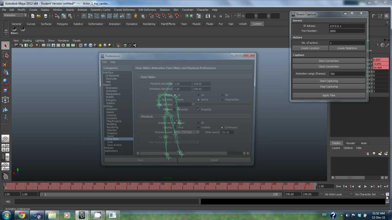 Kinect Motion Capture Maya