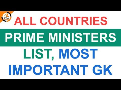 All Countries Prime Ministers List, Most Important GK