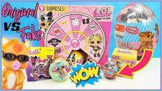 LOL Surprise Confetti POP Original vs Fake.  Abriendo LOL Dorada, lil sister, LOL sobres, LOL LEGO