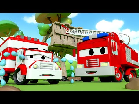 The Car Patrol : Fire Truck and Police Car and Amber's siren's missing in Car City