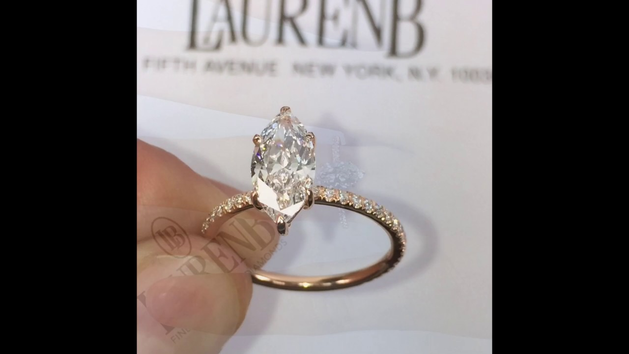 Gold Ring With  Marquise Diamonds