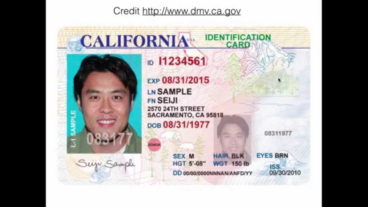 Ca Id Card Front Youtube