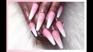 Watch Me Work: Pink & White Baby Boomer Acrylic Nails