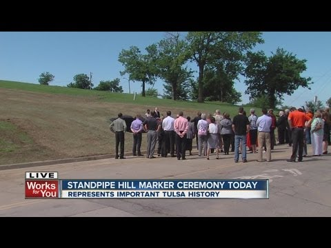 Historical marker placed at Standpipe Hill, significant during Tulsa race riots