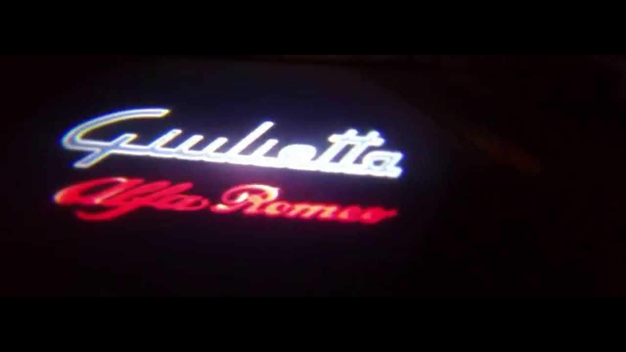 proiettori led logo portiera alfa romeo giulietta led portiere luci cortesia youtube. Black Bedroom Furniture Sets. Home Design Ideas
