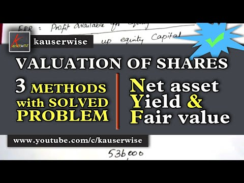 Valuation of Shares [ Net asset method, Yield method and Fair value ] :-by kauserwise