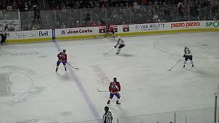 Felix Girard of the Manitoba Moose eventually scores vs. the Laval Rocket 2/23/19