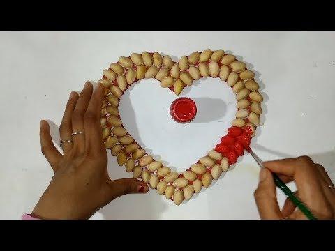 Diy Pista Shell Crafts | Heart❤️ Wall Hanging Craft Idea From Pista Shell | Home Decor Idea 2019