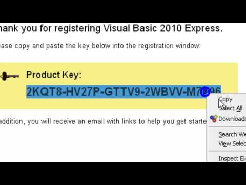 visual studio 2010 express registration key offline
