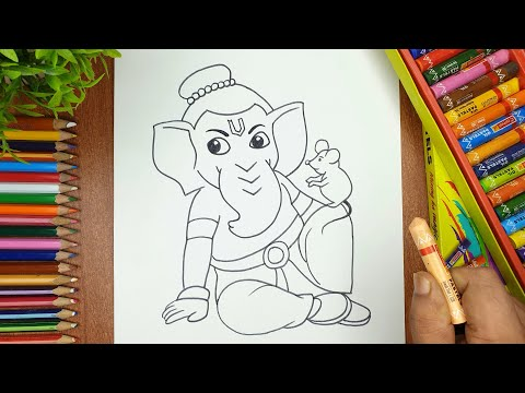 How to Draw Lord Ganesha with Oil pastels Part-2 | Easy Ganpati Drawing step by step