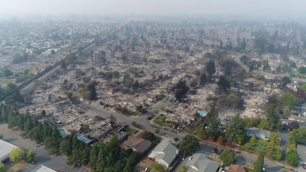 santa rosa fire coffey park fire aerial view shows neighborhoods