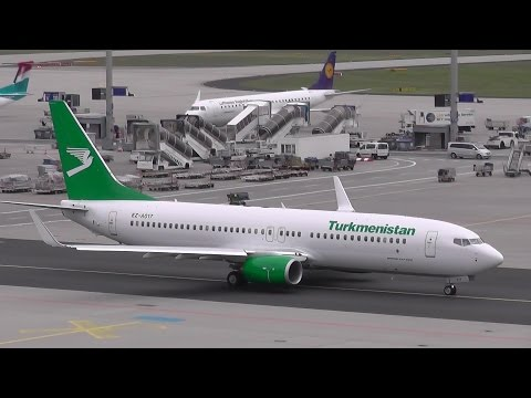 [FullHD] Turkmenistan B737-800 EZ-AO17  taxi and takeoff @ Frankfurt Airport