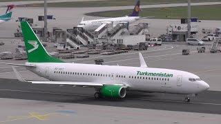 [FullHD] Turkmenistan B737-800 EZ-AO17  taxi and takeoff @ Frankfurt Airport