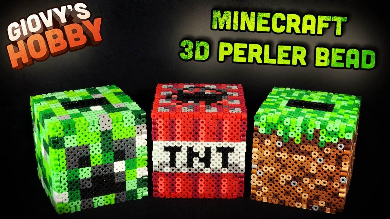 medium resolution of 3d piggy bank alcancia tutorial creeper tnt minecraft perler bead hama bead giovy hobby