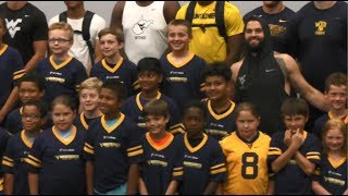 Kids participate in Mountaineer Football Fantasy Camp 7/14/18