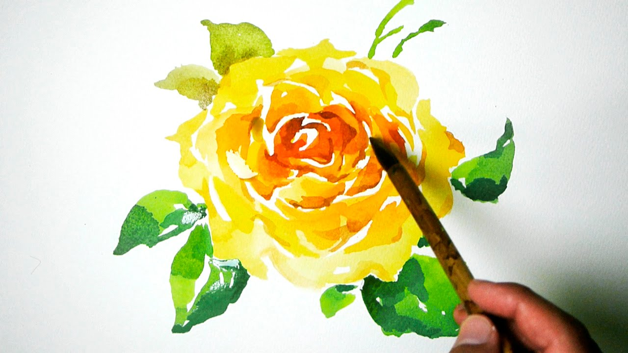 Watercolor painting yellow rose jay art youtube mightylinksfo