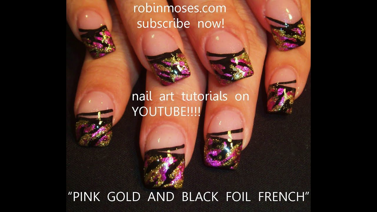 How To Use Nail Foil On Nails Hot Gold And Pink Art With Black Stripes Design You