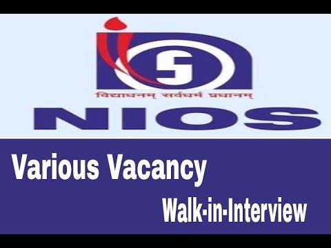 NIOS recruitment various job vacancies/walk-in-Interview/ teacher job vacancy/electronic media jobs