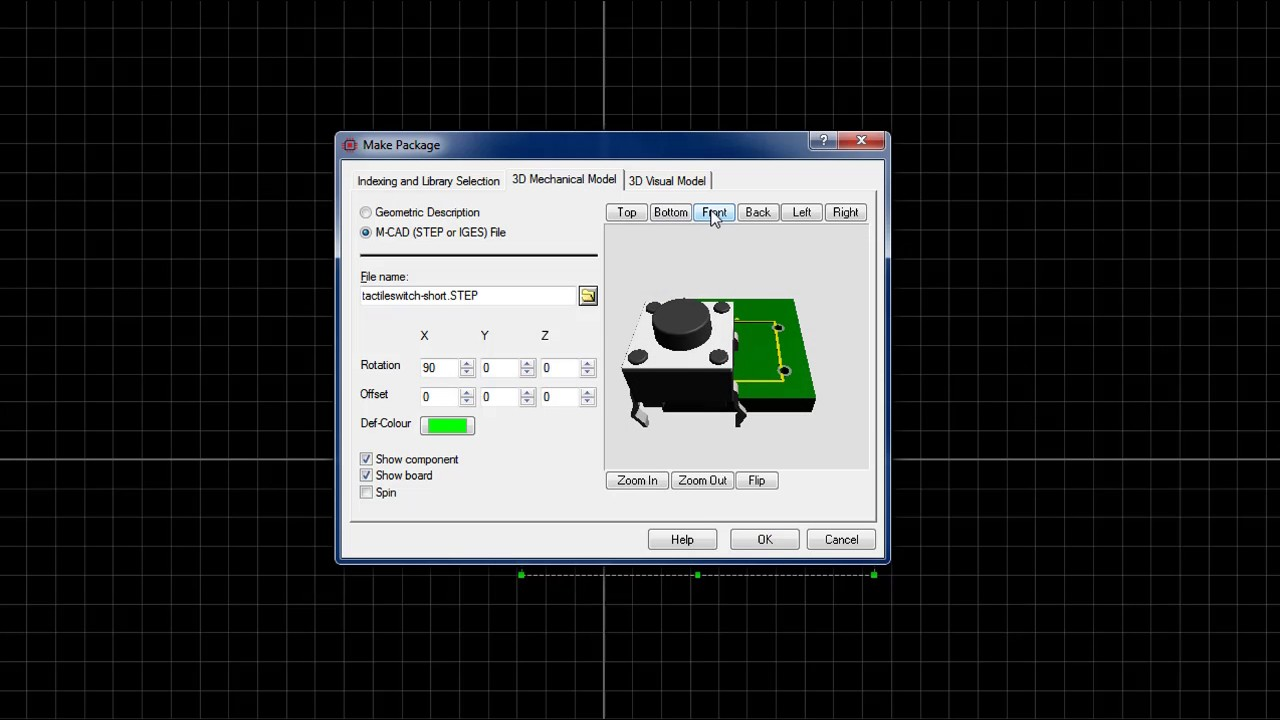 How to create tactile switch (Push button) on Proteus 8 with 3D  visualization