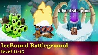 Plants vs Zombies 2: Forstbite Caves Icebound Battleground Level 11 to 15