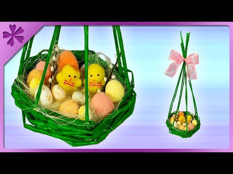 DIY How to make paper wicker nest 🐣 Easter table decoration (ENG Subtitles) - Speed up #589