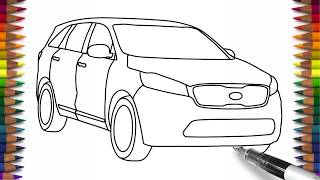How to draw KIA Sorento step by step for beginners Car drawing easy