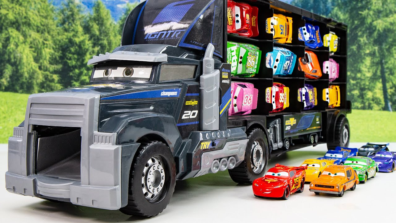 The Disney new Mac Truck Car Carriers is full of McQueen friends Let's slide and play