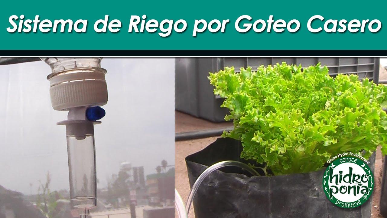 Sistema de riego por goteo casero youtube for Aspersores para riego de jardin